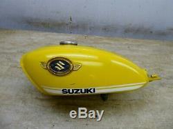 1971 Suzuki TS90 Hustler S877. Yellow gas fuel petrol tank with emblems original
