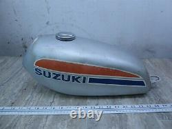 1973 Suzuki TS100 Enduro S572-1A silver gas fuel petrol tank with cap