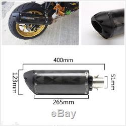 1X Real Carbon Fiber Motorbike ATV Modified Exhaust Tail Pipe No Muffler 38-51mm