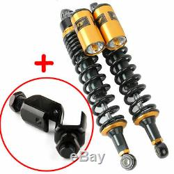 2Pcs 15 380mm Motorcycle Rear Air Shock Dampers Absorbers Round Hole For Suzuki