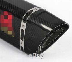 51mm/2inch Glossy Full Carbon Fiber Motorcycle Modified Exhaust Pipe Muffler Kit