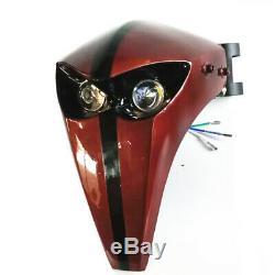 Easy Install LED Headlight Fairing Skeleton Skull Universal Motor With 43mm-46mm