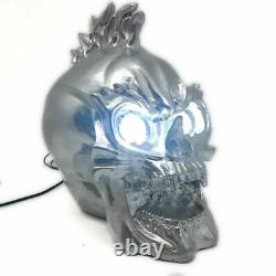 Handmade Resin Motorcycle Skull 1X Headlight Lamp LED For Harley Chopper Bike SC