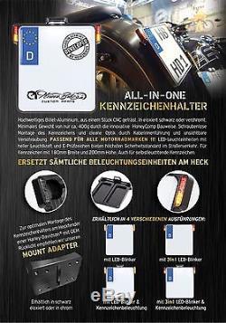 Kennzeichenhalter mit LED Blinker & Kennzeichenbeleuchtung für Suzuki Yamaha KTM