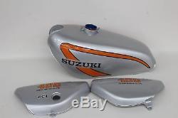 NEW SUZUKI TS400 Replacement Grey With Orange Stripe Fuel Tank & Side Panel Set