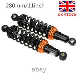 One Pair 280mm Motorcycle Scooter Rear Suspension Shock Absorber Black UK Stock