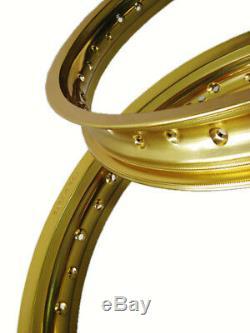 Suzuki Ts185 Ts125 R/j/k 71-73 Aluminium Gold Front & Rear Wheel Rim #bi3862#