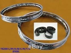 Suzuki Ts250 L/m/a/b/c/n/t/x Front&rear Steel Wheel Rim Set+tape Rubber #bi817