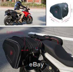 2pcs Sacs Moto Moto Noire Sacs Bagages Selle Avec Housse De Pluie 36-58l