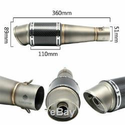 51mm Universal Bevel Fibre De Carbone Silencieux Pot D'échappement Tuyau Astuce Silencieux &