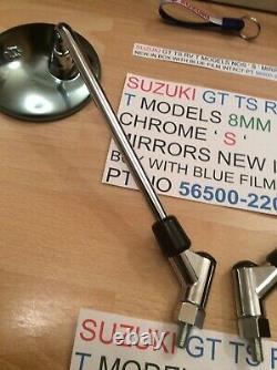 Suzuki Gt Ts Rv T Models Nos S Logo Mirrors New Pt 56500-22011 8mm Thread