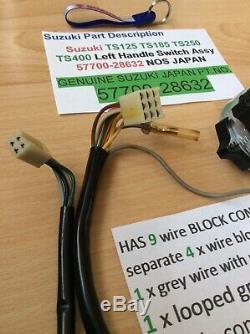 Suzuki Ts125 Tc125 Ts185 Ts250 Nos Switch Poignée Montage 2 X Type De Connecteur